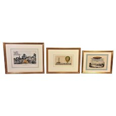 3 French Hand Colored Engravings of Hot Air Balloons 19th C Set # 2 of 3 Framed by Washington Square Gallery Ltd of Phil, PA