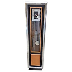 Vintage Howard Miller George Nelson Model 623 Mid-Century Modern Grandfather Clock  Westminster Chimes #150 Mvmt Runs  Strikes & Chimes Oak Ebonized Wood and Chromed Steel Case