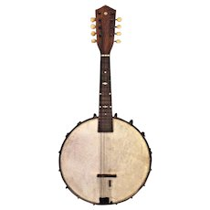 Antique Mini Banjo Mandolin 8 String Mother of Pearl Inlay on Scroll and Fingerboard