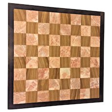 Vintage Marble Game Board Black Border w/ Pink/White & Brown/White Playing Squares Chess/ Checkers
