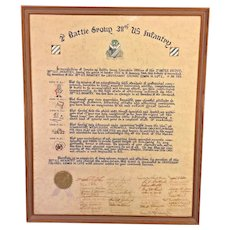 Vintage  2nd Battle Group  38th US Infantry Military Service Recognition Certificate in Frame Signed by Other Members  Lieutenant Colonel Edwin Lutz