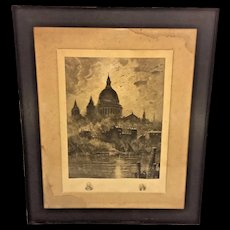 Antique 19th Century Engraving of  St Peters Basilica at the Vatican Framed by Newman Gallery of Philadelphia, PA