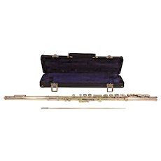 W T Armstong Flute Elkhart IN with Case Silver Colored Lacquer