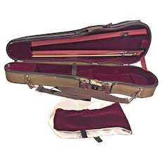 Vintage Violin Bow Round Shaft and Hard Violin Case
