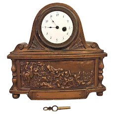 Antique French Fusee Shelf Clock Bronze Case Couturier Paris Porcelain Face Runs Embossed Colonial Scenes on Front & Sides of Case