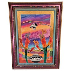 """Vintage Fran Larsen Watercolor Painting Titled """"Learning the Old Ways"""" Hand Carved & Painted Polychromed Frame 1993"""