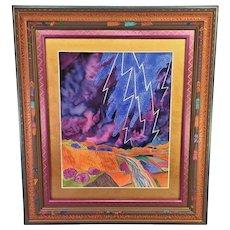 "Vintage Fran Larsen Watercolor Painting Titled ""Lightning Above the River"" 1994 Hand Carved & Painted Polychromed Frame"