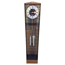 1980s Howard Miller George Nelson Designed Grandmothers Clock Running Time & Bim Bam Strike Weight Driven Chromed Weights & Pendulum Bob