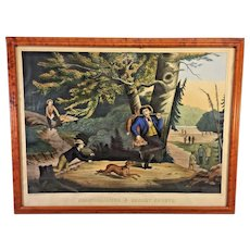 Antique Henry Schile Colored Chromolithograph Sunday Sports 1871 New York Hand Colored Fox Hunting