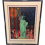 """Vtg Rick Rush Signed Ltd Ed Lithograph Serigraph """"Drawn by the Flame: Statue of Liberty"""" 1986  # 154 of 350"""