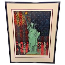 "Vtg Rick Rush Signed Ltd Ed Lithograph Serigraph ""Drawn by the Flame: Statue of Liberty"" 1986  # 154 of 350"