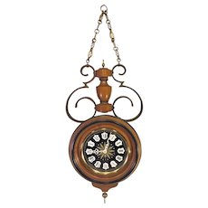 Vintage Colonial Wall Clock Westminster Chimes Wood Brass and Wrought Iron Case Not Running Nice Project Clock