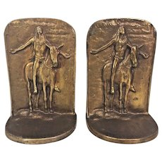 Vintage Pair of Bronze Bookends Indian with Outstretched Arms on Horse by Bron /Met