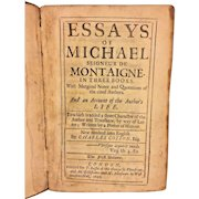 Antique  Book - Essays of Michael Seigneur de Montaigne in 3 Books 1693 Volume 1 Rendered Into English by Charles Cotton
