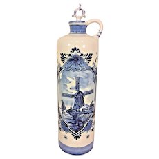 Antique Hand Painted Blankenheym's Disty Rotterdam Blue and White Wind Mill Holland Delft Pottery Vase w/ Lid
