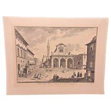 Vintage Engraving P Monacry Sculptor Venezia  Not Framed Joseph Zocchi Engraver  Plate # TXVII Veduta della Chiesa, e Piazza Di' S Pier Maggiore