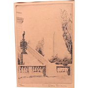 Don Swann Limited Ed Etching (147/300) of DC Washington Monument & Capitol Steps