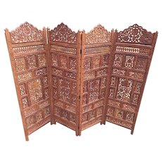 Vintage Asian Carved Wood 4 Panel Privacy Screen Room Divider Nice Detailing