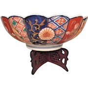 Vintage Asian Bowl Flower Bird and Other Design w/ R-wood Carved Stand