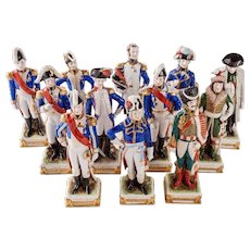 12 Antique Schumann Dresden Porcelain Napoleonic Soldiers Germany