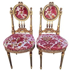 Vintage Louis XVI Boudoir Chairs Padded Seats Gold Gilt Finish to Wood Frame
