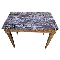 Vintage Table with Stone Top (Black Gray  & White) Made by Palladio in Italy