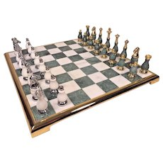 Vintage Marble and Onyx Chess Set with Board in Original Box