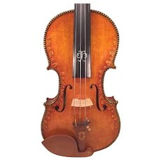 Song Chung Carved Violin w/ Scrolling Overall  Unmarked 8 Sided Bow in Case