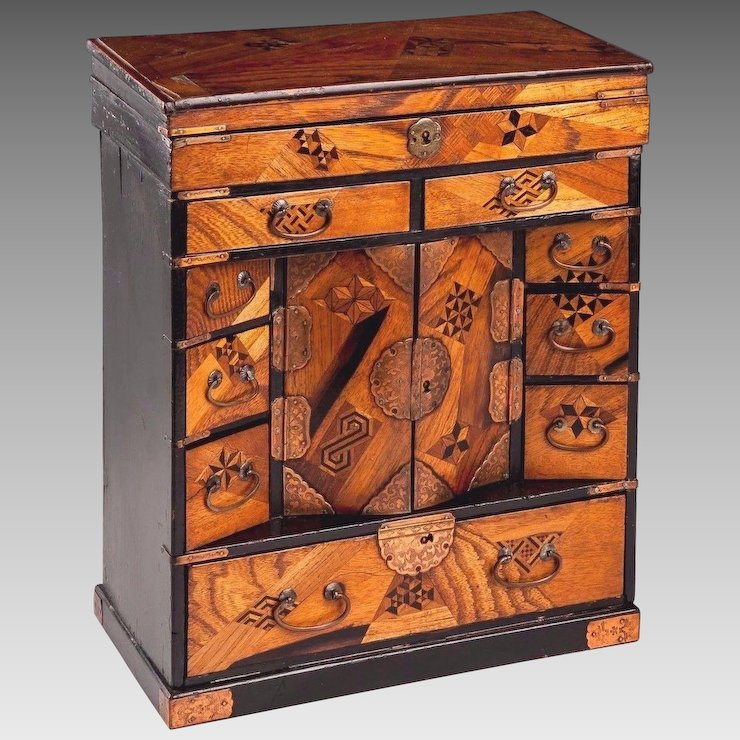 Vtg Chinoiserie Inlaid Wood Jewelry Cabinet With Incised Copper Trim And  Pulls 9 Drawers Lift Top