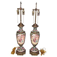 Vintage Pair of Chinese Export Style Lamps Urn Shaped w/ Brass Bases & Trim  w/ Floral Design Porcelain Bodies
