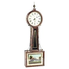 Antique 19th Century Banjo Clock with Mt Vernon Tablet Time Only Unknown Maker Running