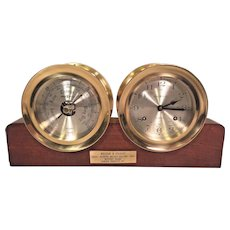 Vintage Howard Miller Clock & Barometer Set with Wood Base Running & Striking - Might be Chelsea Made Model # 613453 Solid Brass Cases