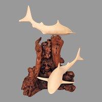 Vintage John Perry Shark Sculpture on Burled Wood Base