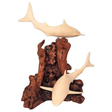 Vintage John Perry Shark Sculpture on Burled Wood Base