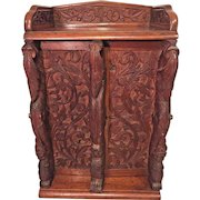 Vintage Smoking Cabinet Ornate Pressed Design on Front & Sides  2 Drawers Brass Lock