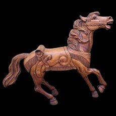 Large Folk Art Carved Wood Carousel Horse Unknown Maker