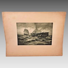 Antique Etching of Ships after Sea Battle Not Framed  Carlton T Chapman