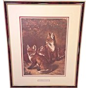 """Vintage Samuel J Carter Print """"Young Freebooters"""" 1880 Professionally Framed & Matted"""