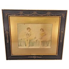 Vintage Ballerina Piece Framed Nice Older Frame Wood Shingle Back