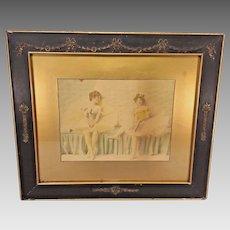 Vintage Ballerina Piece Framed Nice Older Frame Wood Shingle Back