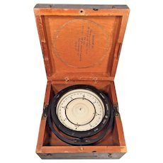 "Vintage Beck-Lee and Lionel WWII Mark II Compass in Gray Wood Case US Navy Bureau of Ships 6.75"" Deck Card Compass"