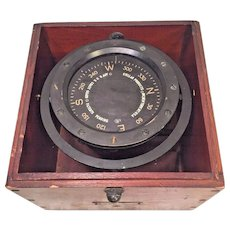 Stellar Products Compass for the US Coast Guard  in Wood Case Brass Attaching Rail on Bottom  Brass Adjustment Screws with No Lid to the Case