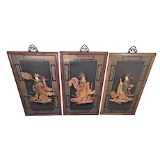 3 Chinese Carved Wood Raised Relief Plaques  1930s to 1960s