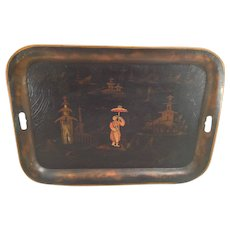 Vintage Reproduction Black and Gold Painted Japanese Tray by Hiliu W B J...noff