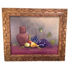 Fruit and Vase Oil Painting by Van Gaver Great Gold Colored Frame Grumbacher 20