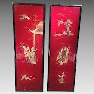 2 Asian Oriental Hanging Wall Panels Beautifully Designed