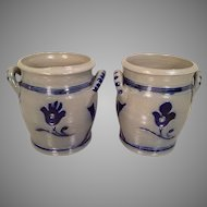 2 Mini Stoneware Crocks with Great Blue Detailing and Handles Makers Mark