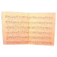 Antique German Sheet Music Handwritten Words Latter 1800s Das Herz Am Rhine Chrishmus Composed by Wilhelm Hill