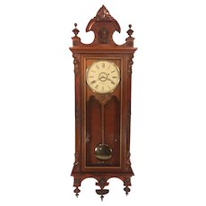 Antique Gilbert Regulator No 3 Wall Clock 1870s Rosewood Case Time Only
