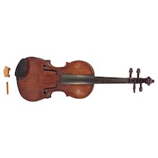 Antique 19th Century Violin in Case 2 Piece Soundboard and Back Inlaid Purfling No Label French or Italian